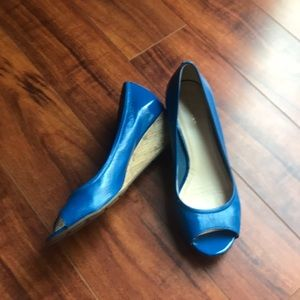 Cole Haan Nike air blue patent open toe wedge